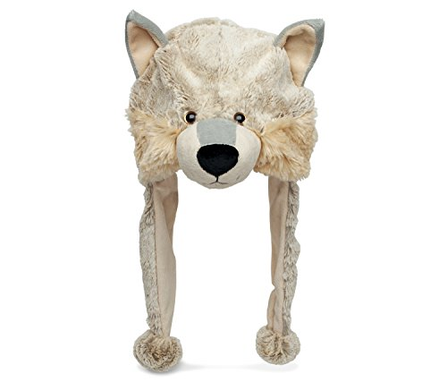 Puzzled Wolf Super Soft Plush Hat - Wild Animals Collection