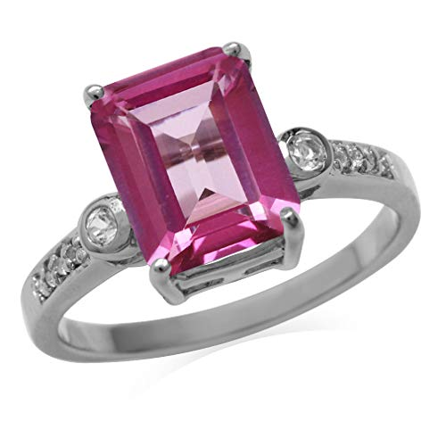 4ct. 10x8MM Genuine Octagon Shape Pink Topaz 925 Sterling Silver Cocktail Ring Size 6