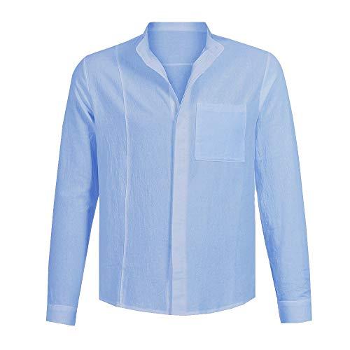 Homme Repassage Imprimé Soirée Blouse Haut T Shirt Taille Cocktail Bleu Top Manches Business Chemises shirt Grande Longues Pour Sans Slim Winjin Chemise Fit 5qRwxZ8R