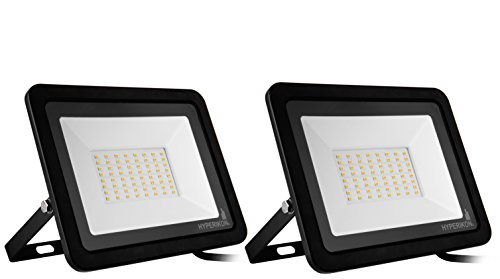 (Hyperikon 50W LED Flood Light with 180° Rotatable Bracket, 5000k, 4000 Lumens, Super Bright Outdoor LED Floodlight, Weatherproof IP65, Suitable for Dry and Damp Locations, 110V, 2-Pack)