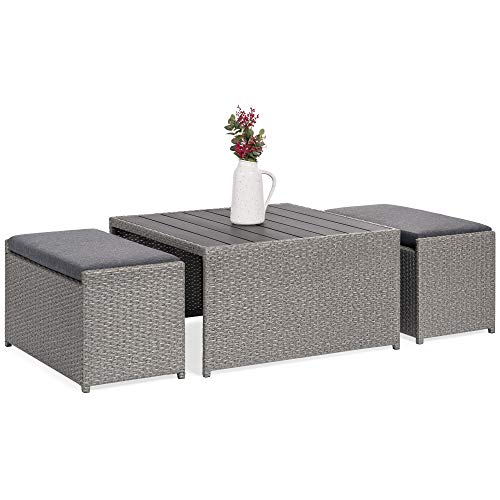 Best Choice Products 3-Piece Outdoor Modern Wicker Coffee Table Conversation Furniture Set for Patio, Porch w/Wood Tabletop, 2 Ottoman Benches, Cushioned Seating, Gray