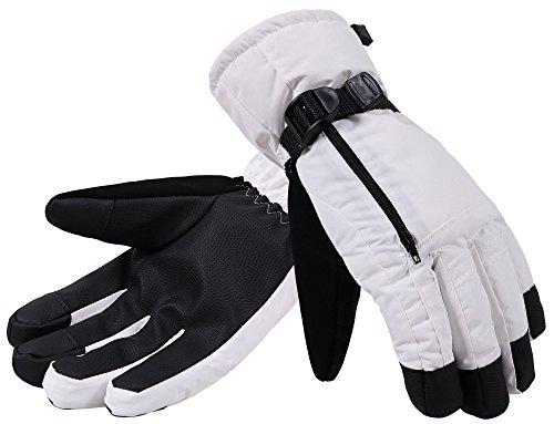 ANDORRA Men's Thinsulate Insulation Waterproof Touchscreen Winter Ski Gloves, L, White