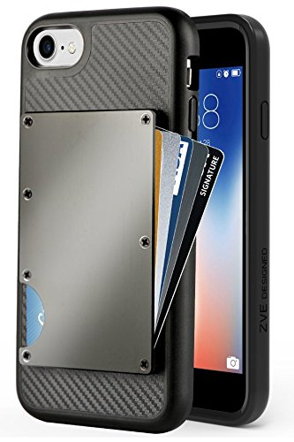 iPhone 8 Wallet Case, iPhone 7 Case with Card Holder, ZVE Apple iPhone 7/8  Case with Credit Card Holder Aluminum Shockproof Hybrid Protective Wallet