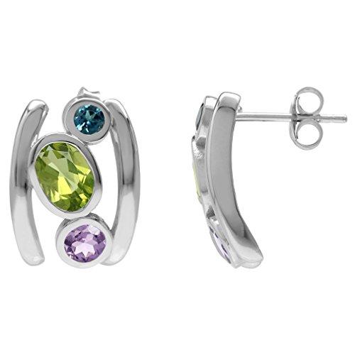 (Silvershake Natural Peridot Amethyst and London Blue Topaz 925 Sterling Silver Modern Style Post Earrings)