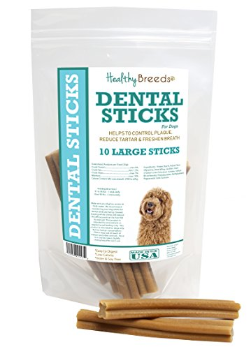 (Healthy Breeds Dog Oral Hygiene Sticks for Labradoodle - OVER 200 BREEDS - Veterinarian Recommended - Grain Free - Made In USA - 10 Large Sticks)