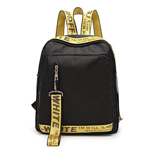 Mochilas De Nylon Para Niñas Cintas De Colores Para La Moda Bolso De Hombro Doble Nuevo Bolso De Escuela De Viaje Daypack Bolsos,Yellow-OneSize