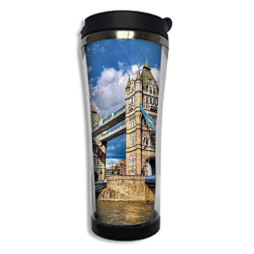 Customizable Travel Photo Mug with Lid - 14.2OZ(420 ml) Stainless Steel Travel Tumbler, Makes a Great Gift by,London,Historical Tower Bridge on River London UK British Day Time International Heritage -