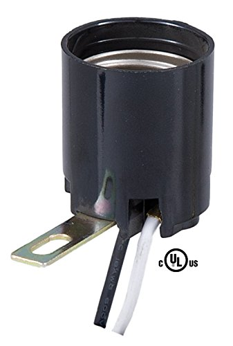 """B&P Lamp Med. Base Lamp Socket with Side Mounted Bracket and 7"""" Wire Leads"""