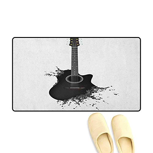 YGUII Guitar Bathroom Mat for tub Non Slip Monochrome Musical Instrument with Strings Acoustic Color Splashes Creative Outlet Size:16X23.6in (40x60cm) Black White