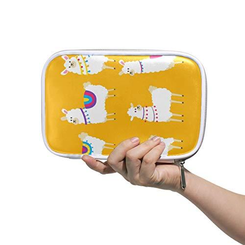 MONTOJ Cute Alpacas Collection Makeup Brush Bag Pencil Case with Zipper Closure Large Capacity Pen Organizer