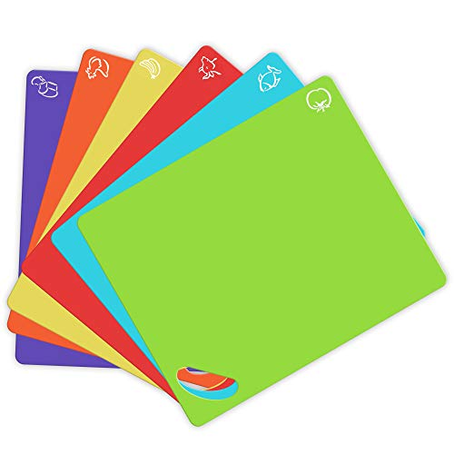 Extra Thick Flexible Plastic Cutting Board Mats with Holes for Hanging and Food Icons & EZ-Grip Waffle Back, (Set of 6) Dishwasher Safe