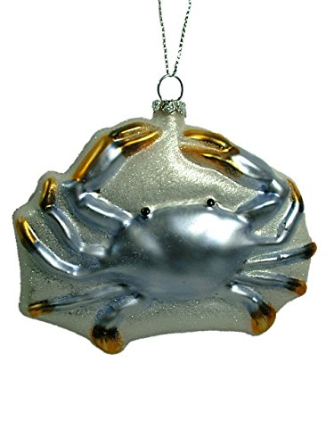 Midwest Gloves Glass Blue Soft Shell Crab Maryland Legs Ocean Seafood Glass Christmas Tree ()