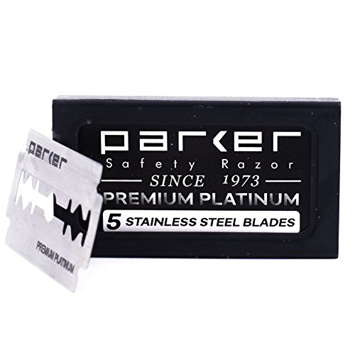 Parker's Double Edge Safety Razor Blades,100 Count (20 x 5), Premium Platinum Razor Blades with Platinum, Tungsten and Chromium Coated Edges (Best Quality Safety Razor)