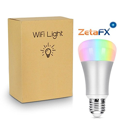 Silver WiFi Smart A19 7W LED Light Bulb by ZetaFX. Natural White & Dimmable Multicolored Light 60W Equivalent, Smartphone & Echo Controlled. No Hub Required, Works with Amazon Alexa, Echo, Dot & Tap.