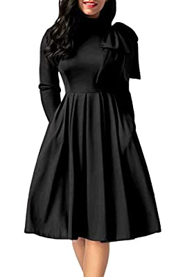 AlvaQ Women Bowknot Embellished Mock Neck Pocket Midi Dress