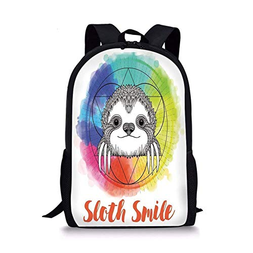 ZOZGETU backpack School Bags Humor Decor,Rainbow Colored Backdrop Image with Sketchy Happy Smiling Cartoon Sloth Art,Multicolor for Boys&Girls Mens Sport Daypack
