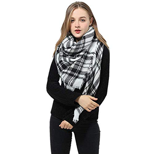 - Plaid Scarfs for Women – Big Warm Cashmere Feel Tartan Blanket Wrap Winter Shawl (Black Grey, One Size)
