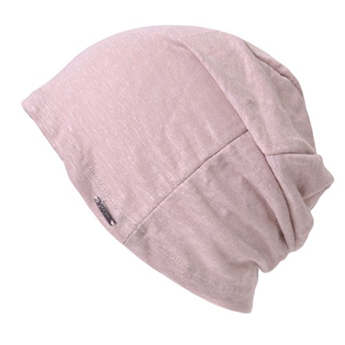 (Linen Mens Summer Beanie - Slouchy Lightweight Knit Hat Cap Made in Japan by Casualbox Pink)