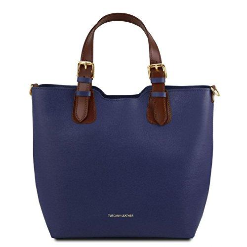 TL141696 Tuscany à en Bleu Cuir Violet Main Leather TL Saffiano Bag Sac Foncé qFZzqg
