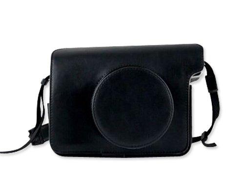 DSstyles Retro PU Leather Camera Case Bag for Fujifilm INSTAX WIDE 300 Instant Camera with Free Shoulder Strap - Black (Fuji Instax Wide Camera Case)