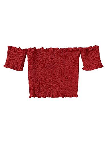 MAKEMECHIC Women's Off Shoulder Frilled Trim Shirred Bardot Casual Crop Tube Tank Red Large