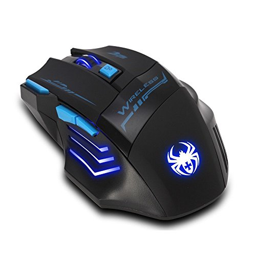 Zelotes 2.4G Ergonomic Wireless Mouse with USB Nano Receiver,4 Adjustable DPI Levels,7 Buttons LED Portable Mobile Gaming Mice for PC, Laptop, Computer, Macbook - Black by Zelotes (Image #3)