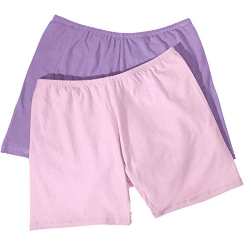(Comfort Choice Women's Plus Size 2-Pack Cotton Fitted Boxer Boyshort - Lilac Pink Pack, 13)