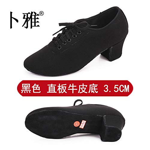 Heel AVBGT Bottom Cloth 5Cm Black Autumn Shoes Teacher Oxford And Female Sole 3 Forty Cowhide Latin Shoes Adult Dance Four Winter Straight Zwxqr0Z