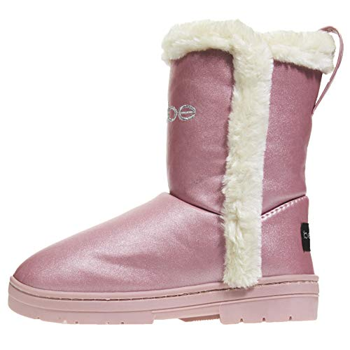 bebe Girls Pearlized Winter Boots Size 12 with Faux Fur Trims Casual Shoes Rose Gold ()
