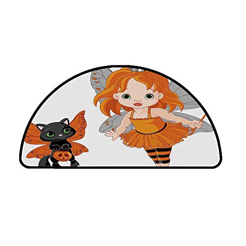 Halloween Comfortable Semicircle Mat,Halloween Baby Fairy and Her Cat in Costumes Butterflies Girls Kids Room Decor Decorative for Living Room,37.4