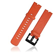 XIEMIN 22MM Leather Strap Watch Band for Motorola Moto 360 1st gen Smart Watch with Free Screen Protector and Spring Bar Jeweler Tool(Orange Leather Strap)