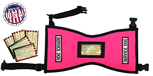 Quick-Ship Service Dog Vest with FREE patches and 5 FREE Info Cards In Clear Pocket (XS (8-16 lbs.), Hot Pink)