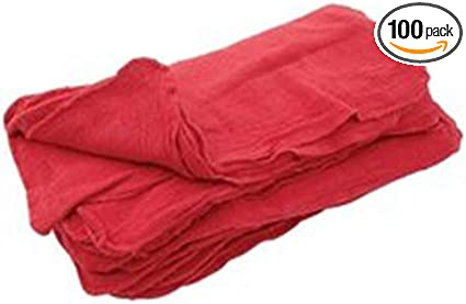 "Cleaning Shop Towels Automotive Cloths Rags Mechanic 50 Pieces 12"" X 14"" Red"