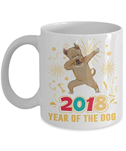 Kiwi Styles New Year Ceramic Coffee Mug Cup - 2018 Year Of The Dog Mug | Best New Year, Birthday Gift For American Pit Bull Terrier Lovers, Dad, Mom, ()