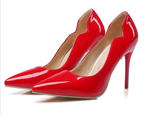 CSDM Donne Scarpe da sposa Stiletto Heel Patent Leather Punta punta Pattinaggio Bocca Shallow Big Size Albicocca Giallo Bianco Rosso , red , 42 custom 2-4 days do not return