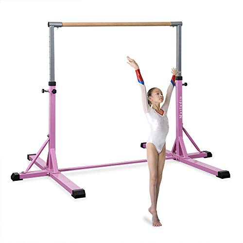 Matladin Gymnastic Horizontal Bar, Upgraded Junior Training Bar, Added Stability, Height Adjustable 3~5 ft, Ideal for Gymnasts 1-4 Levels, 300 lbs Weight Capacity (Single Gymnastic Bar)