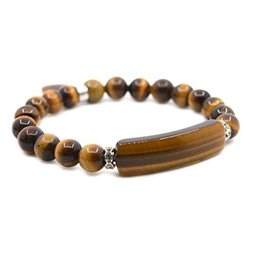 Golden Tigers Eye Bracelet (Natural Golden Tiger's Eye Gem Semi Precious Gemstone Love Heart Charm Stretch Bracelet)