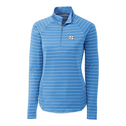 Cutter & Buck NCAA North Carolina Tar Heels Long Sleeve Pencil Stripe Evie Half Zip, Atlas, M