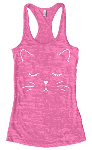 Threadrock Women's White Kitty Cat Face Burnout Racerback Tank Top S Hot Pink ()