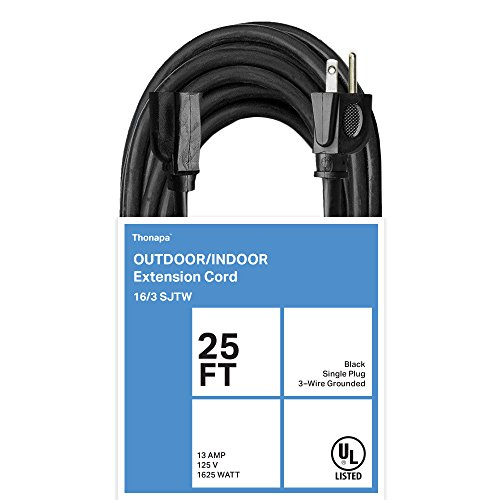 Thonapa 25 Ft Black Extension Cord - 16/3 Heavy Duty Electircal Cable with 3 Prong Grounded Plug for Safety
