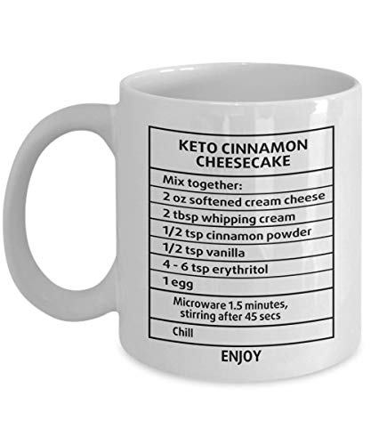 Diet Cinnamon Cheesecake Recipe Mug - Perfect Keto Gifts Ideas For Women, Mom, Wife, Her, Guys, Sister for Mother's Day - Funny Quote Ceramic Keto Coffee Mug Tea Cup 11 OZ White ()