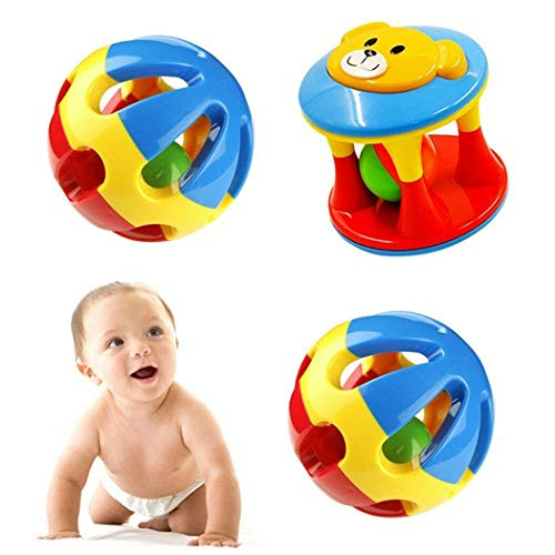 Ailive 3pcs Colourful Baby Rattle Ball Toys Shaking Bell Developmental Rolling Balls Teether Dumbbell Toy Newborn Handbells Infant Gift ()