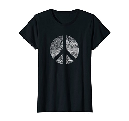 Womens Peace Symbol Retro Inverse Distressed Hippie 1960's T Shirt Medium Black