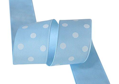 (Ribbon Bazaar Grosgrain Polka Dots 2-1/4 inch Light Blue By the Yard 100% Polyester Ribbon)