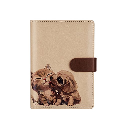 Steno Binder - ToiM A6 Cute Simple Loose-leaf Binder Notebook for Diary, PU Leather Journal Writing Notebook Handbook Notepad Business Hand Books, Great Stationery (Friendship)