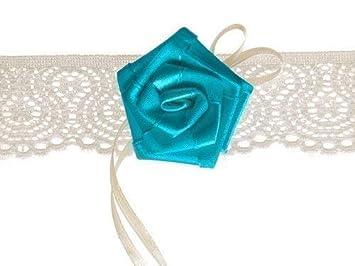 buy popular cb481 ee13e Strumpfband weiß mit blauer Rose für die Braut Hochzeit ...