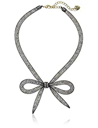 """Betsey Johnson""""Memoirs of Betsey"""" Mesh Bow Necklace, 16"""" + 3"""" Extender"""
