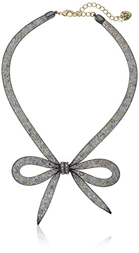 "Betsey Johnson ""Memoirs of Betsey"" Mesh Bow Necklace, 16″ + 3″ Extender"