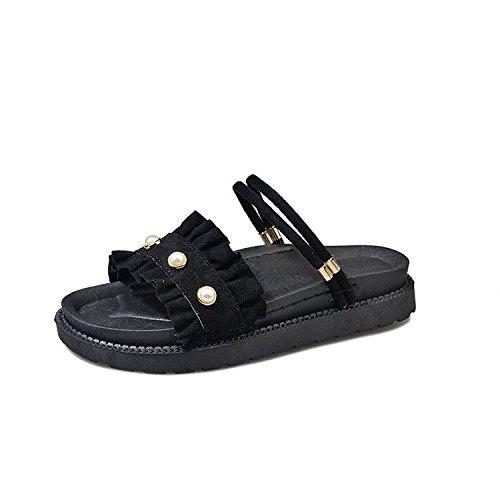 Flat Use Ladies Summer Leisure Ruffled Female Bottom Black slippers Comfortable Wear Soft Dual Sandals Wild women qSPI0w