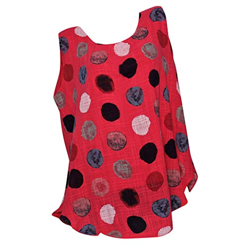 FAPIZI Summer Plus Size Sleeveless Printed Tank Tops Womens Baggy Sports T-Shirt Vest Tee Blouse Top Red